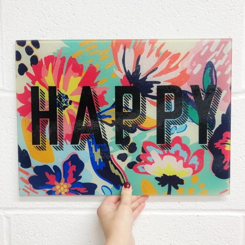HAPPY - glass chopping board by The 13 Prints