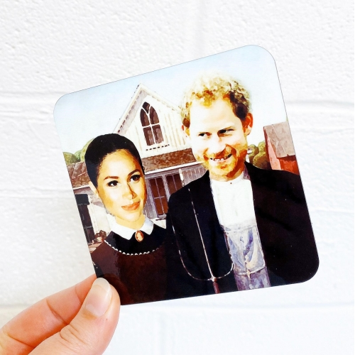 Merican Gothic - personalised drink coaster by Wallace Elizabeth