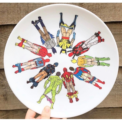 Superhero Butts Circular Round - personalised dinner plate by Notsniw Art