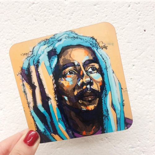 Thoughtful Bob - personalised drink coaster by Laura Selevos