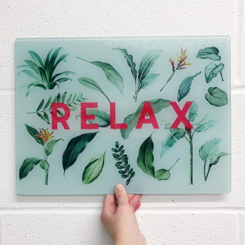 Relax - glass chopping board by The 13 Prints