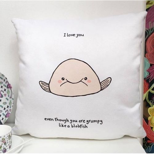 Blobfish - designed cushion by Ellie Bednall