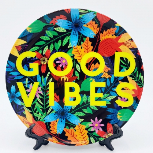 Good Vibes Flowers - personalised dinner plate by The 13 Prints