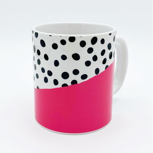 Pink Dalmatian Abstract Print - unique mug by The 13 Prints