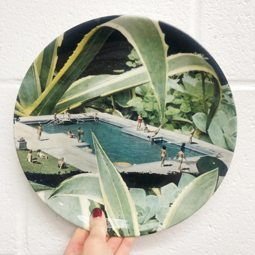 Tropical summer - ceramic dinner plate by Maya Land