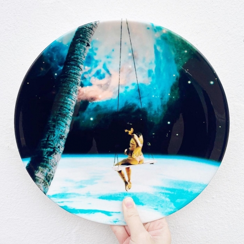 Hanging Out In Space - ceramic dinner plate by taudalpoi