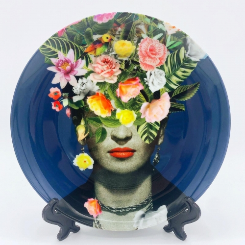 Frida Floral (Blue) - personalised dinner plate by Desirée Feldmann