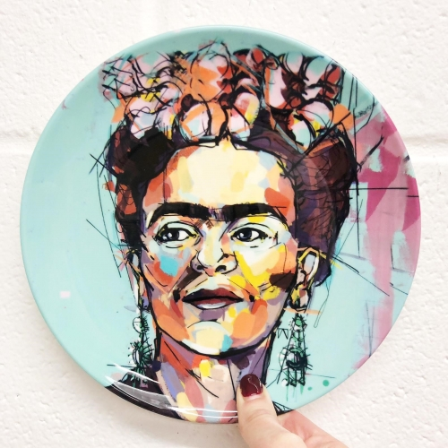 Sassy Frida - personalised dinner plate by Laura Selevos