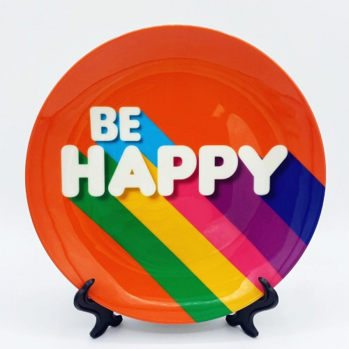 BE HAPPY - personalised dinner plate by Ania Wieclaw