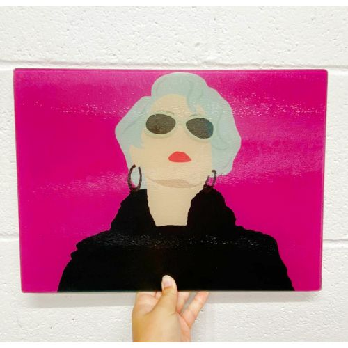 Miranda Priestly - glass chopping board by Cheryl Boland