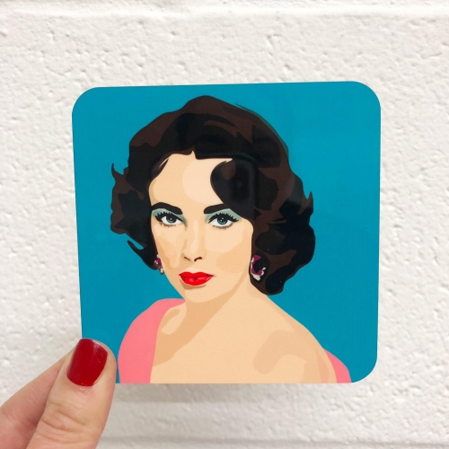 Elizabeth Taylor - personalised drink coaster by SABI KOZ