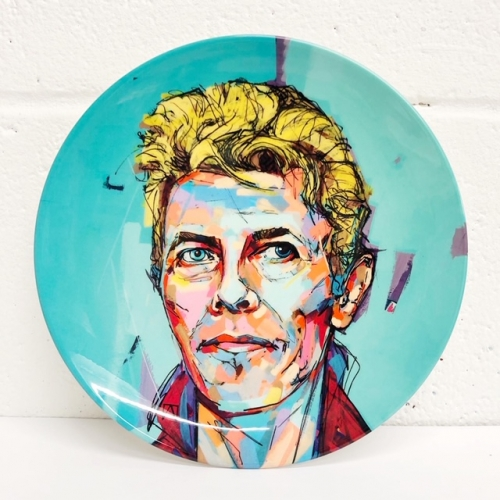 Hopeful Bowie - ceramic dinner plate by Laura Selevos