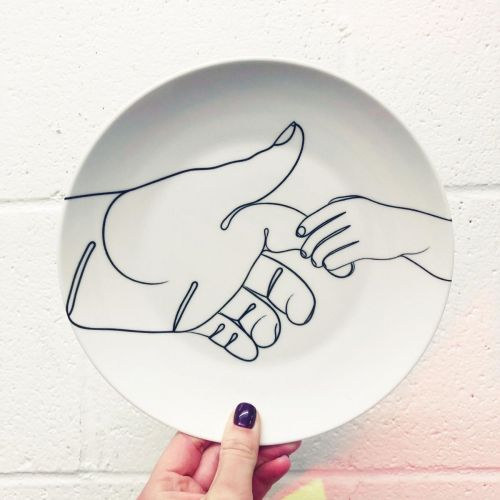 Child Holding Father's Finger Line Drawing - ceramic dinner plate by Adam Regester