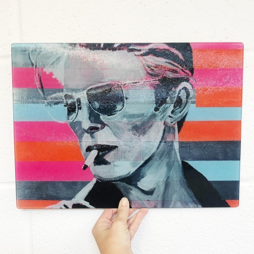 Neon Bowie - glass chopping board by Kirstie Taylor