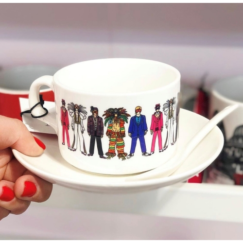 Elton - personalised cup and saucer by Notsniw Art