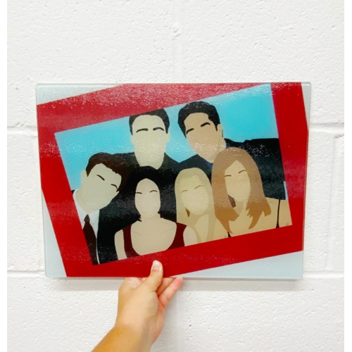 Friends portrait - glass chopping board by Cheryl Boland