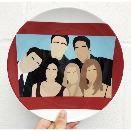 Friends portrait - personalised dinner plate by Cheryl Boland