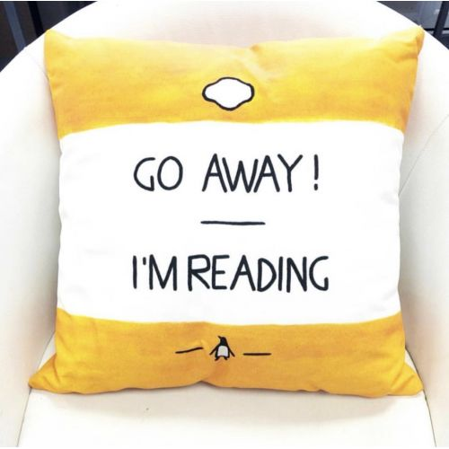 Go Away, I'm Reading - Watercolour Illustration - designed cushion by A Rose Cast - Karen Murray