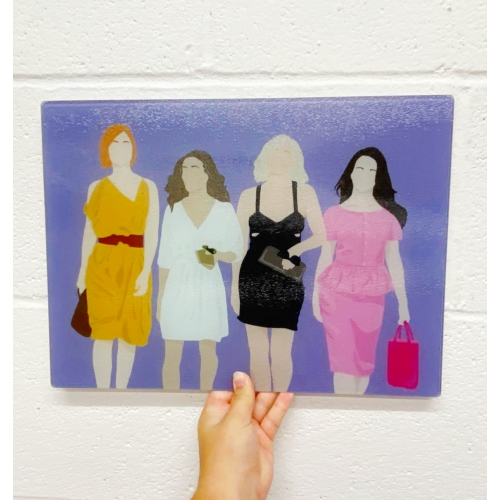 Sex and the city - glass chopping board by Cheryl Boland