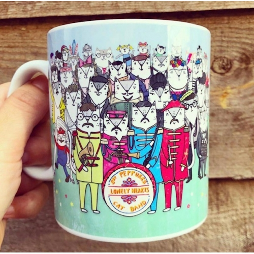 Sgt. Peppurrs Lonely Hearts Cat Band - unique mug by Katie Ruby Miller