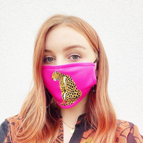 A Leopard Sits - washable face mask by Wallace Elizabeth