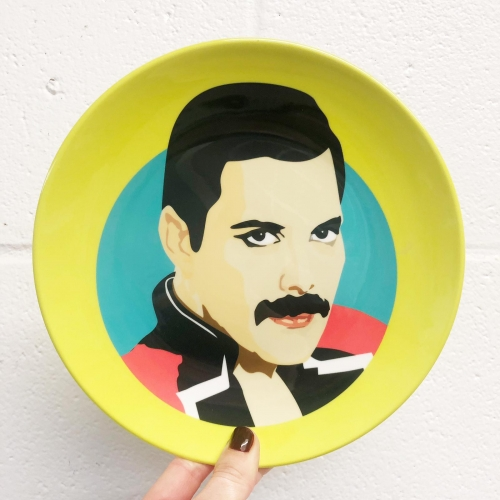 Freddie Mercury - ceramic dinner plate by SABI KOZ