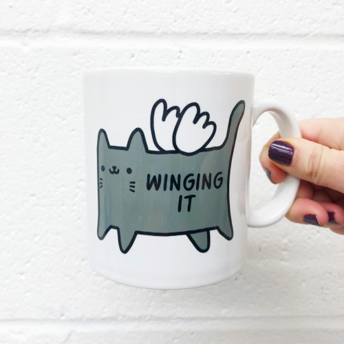 Winging It - unique mug by Mombi & Ted