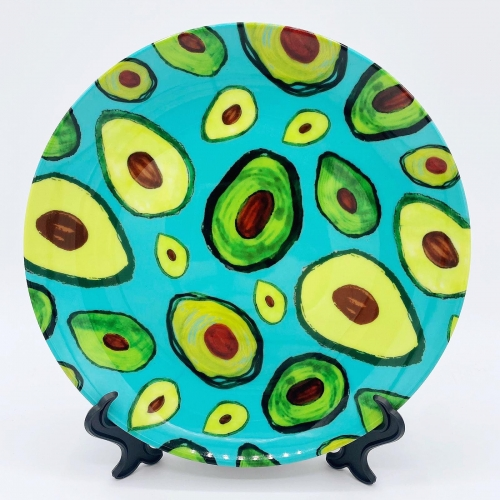 Avocados - ceramic dinner plate by Rosemaria Romero