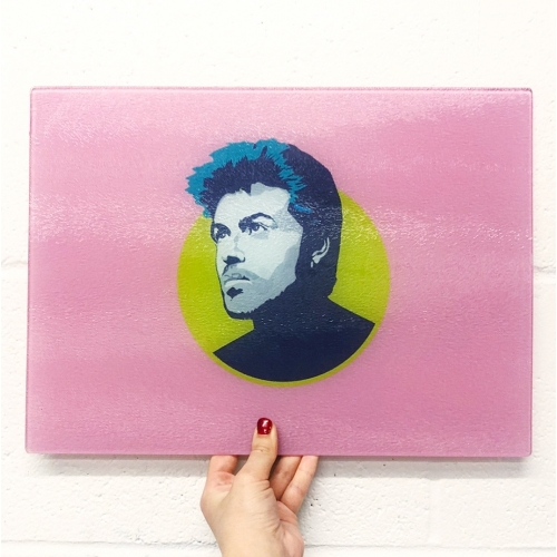 George Michael - glass chopping board by SABI KOZ
