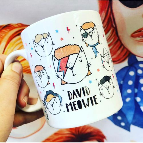 David Meowie - The 9 Lives Of - unique mug by Katie Ruby Miller