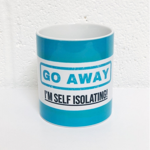 Go Away - I'm Self Isolating (blue) - unique mug by Lilly Rose