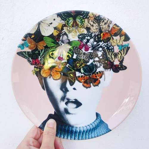 Twiggy Surprise (Pink) - personalised dinner plate by Desirée Feldmann