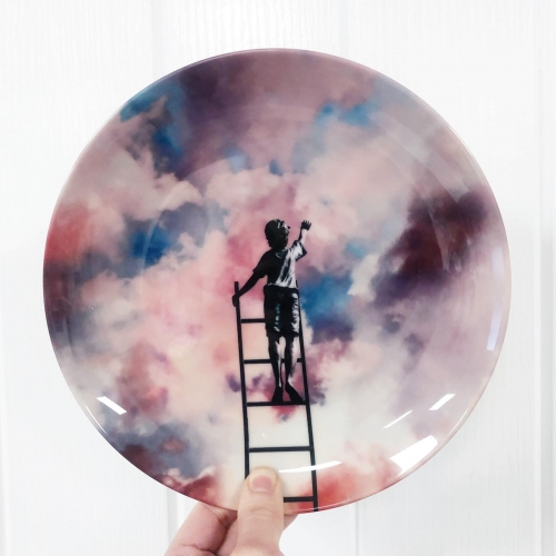 Cloud Painter - ceramic dinner plate by taudalpoi