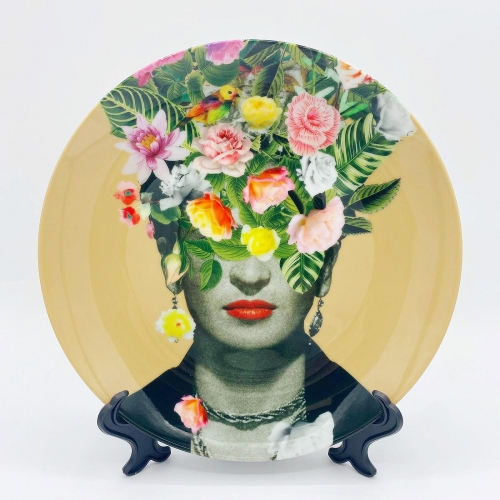 Frida Floral (Orange) - personalised dinner plate by Desirée Feldmann