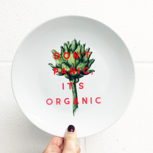 Don't Panic It's Organic - ceramic dinner plate by The 13 Prints