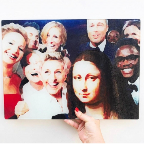 Art of Selfies - glass chopping board by Wallace Elizabeth