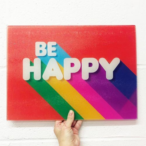 BE HAPPY - glass chopping board by Ania Wieclaw