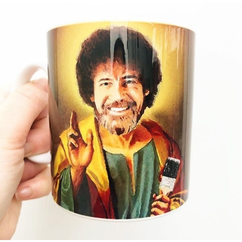 Patron Saint Of Chill - Bob Ross - unique mug by Wallace Elizabeth