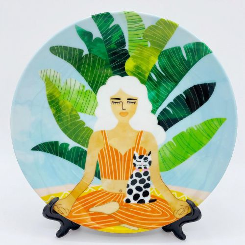 Meditation With Thy Cat - ceramic dinner plate by Uma Prabhakar Gokhale