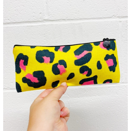 Leopard print yellow and pink - unique pencil case by Cheryl Boland