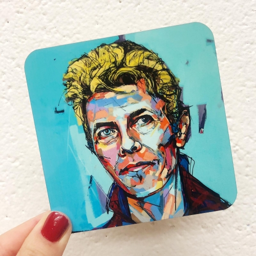 Hopeful Bowie - personalised drink coaster by Laura Selevos