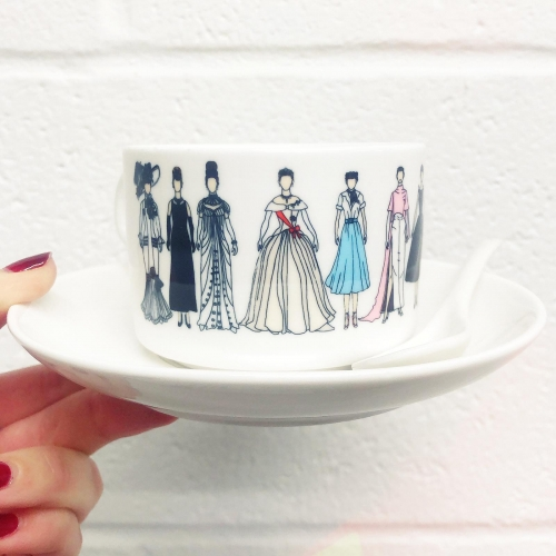 Audrey - personalised cup and saucer by Notsniw Art