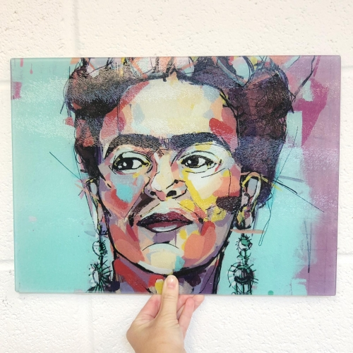 Sassy Frida - glass chopping board by Laura Selevos