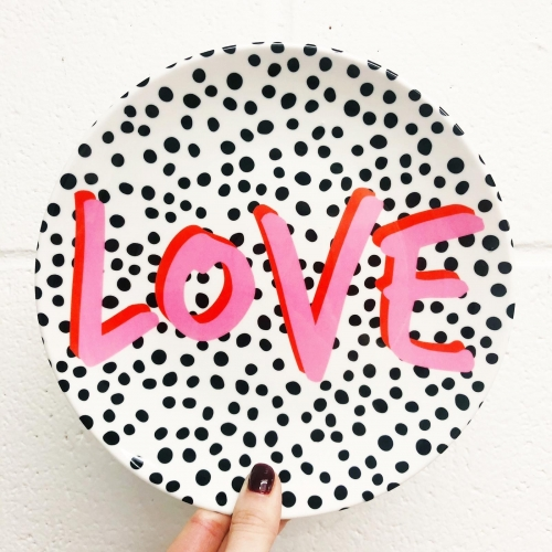 LOVE Polka Dot - personalised dinner plate by The 13 Prints