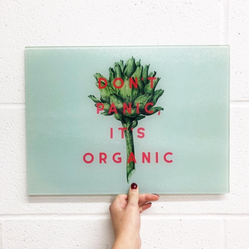Don't Panic It's Organic - glass chopping board by The 13 Prints