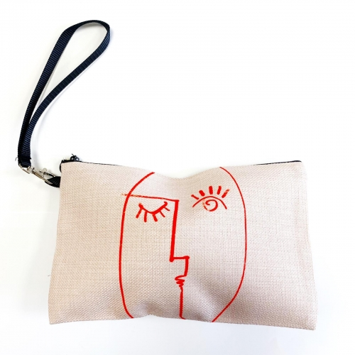 Winking Woman Minimal Line Portrait - pretty makeup bag by Adam Regester
