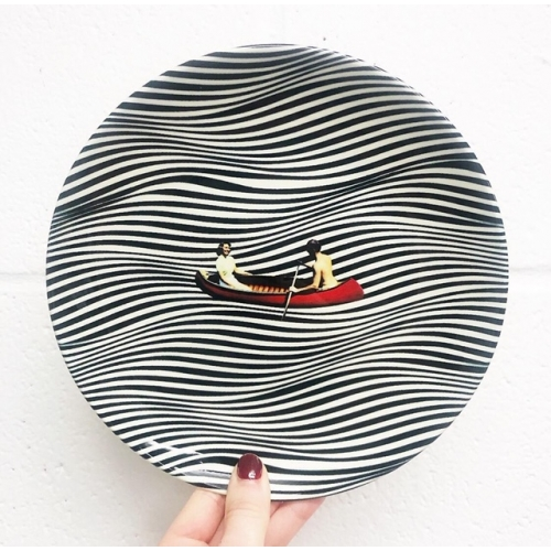 Illusionary Boat Ride - ceramic dinner plate by taudalpoi