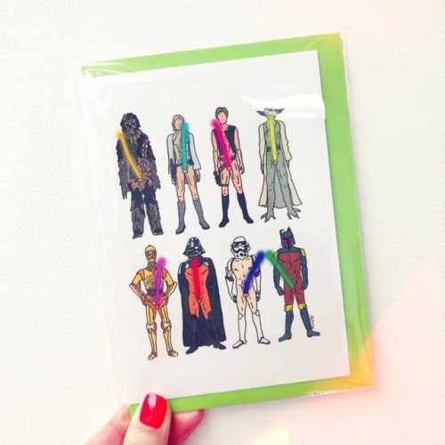 Naughty Lightsabers - funny greeting card by Notsniw Art