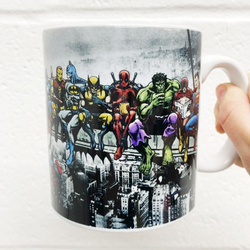 Marvel & DC Superheroes Lunch Atop A Skyscraper: Featuring Captain America, Iron Man, Batman, Wolverine, Deadpool, Hulk, Flash & Superman - unique mug by Dan Avenell