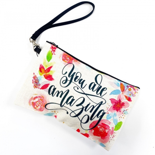 You Are Amazing - pretty makeup bag by Katie Wells